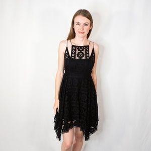 FREE PEOPLE Lace Knit Black Sleeveless Shift Dress